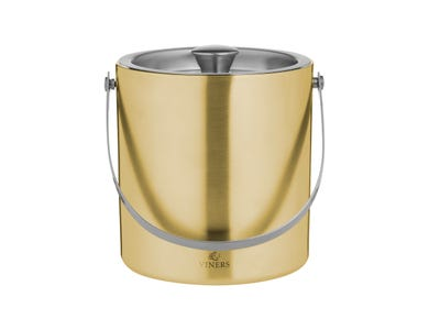 Viners Barware 1.5 Litre Gold Double Wall Ice Bucket with silver lid and handle