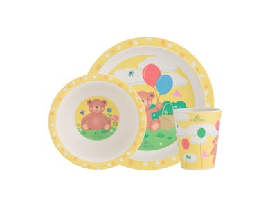 Bertie 3 Piece Kids Dinnerware Set including dinner plate, bowl and cup